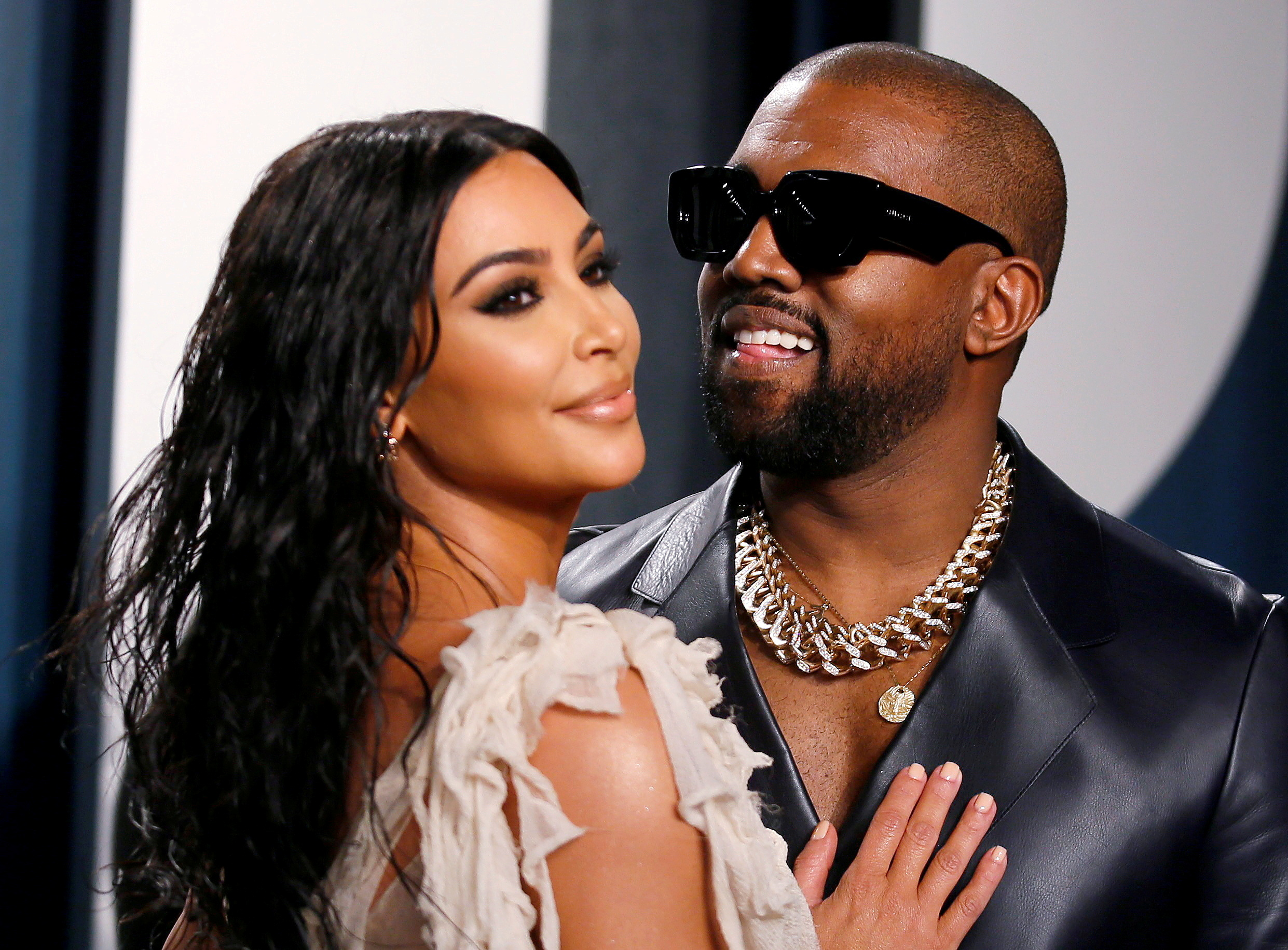 Kim Kardashian and Kanye West attend the Vanity Fair Oscar party in Beverly Hills during the 92nd Academy Awards, in Los Angeles, California, U.S., February 9, 2020. REUTERS/Danny Moloshok/File Photo