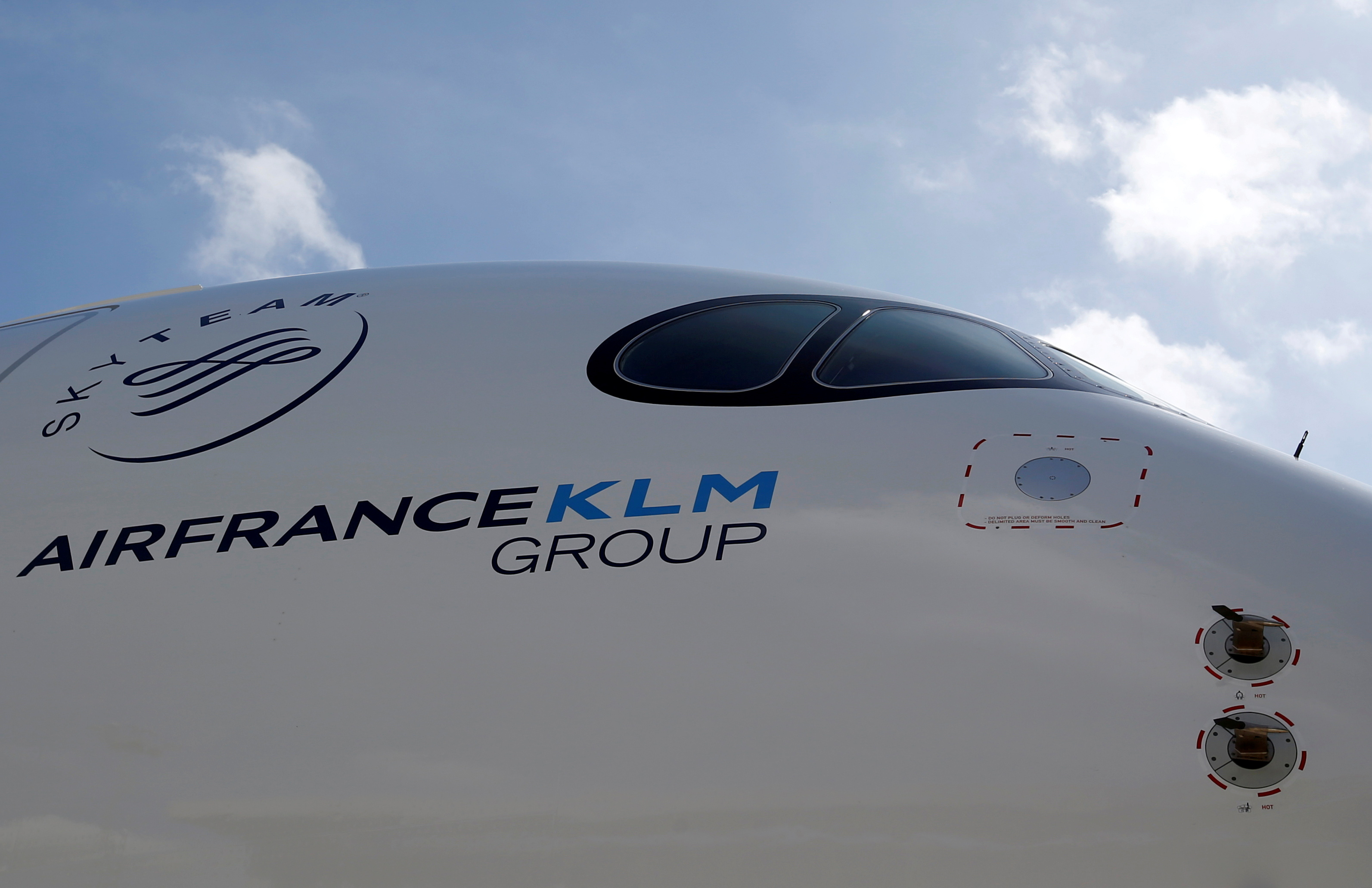 Logo of Air France KLM Group is pictured on the first Air France airliner's Airbus A350 during a ceremony at the aircraft builder's headquarters of Airbus in Colomiers near Toulouse, France, September 27, 2019. REUTERS/Regis Duvignau