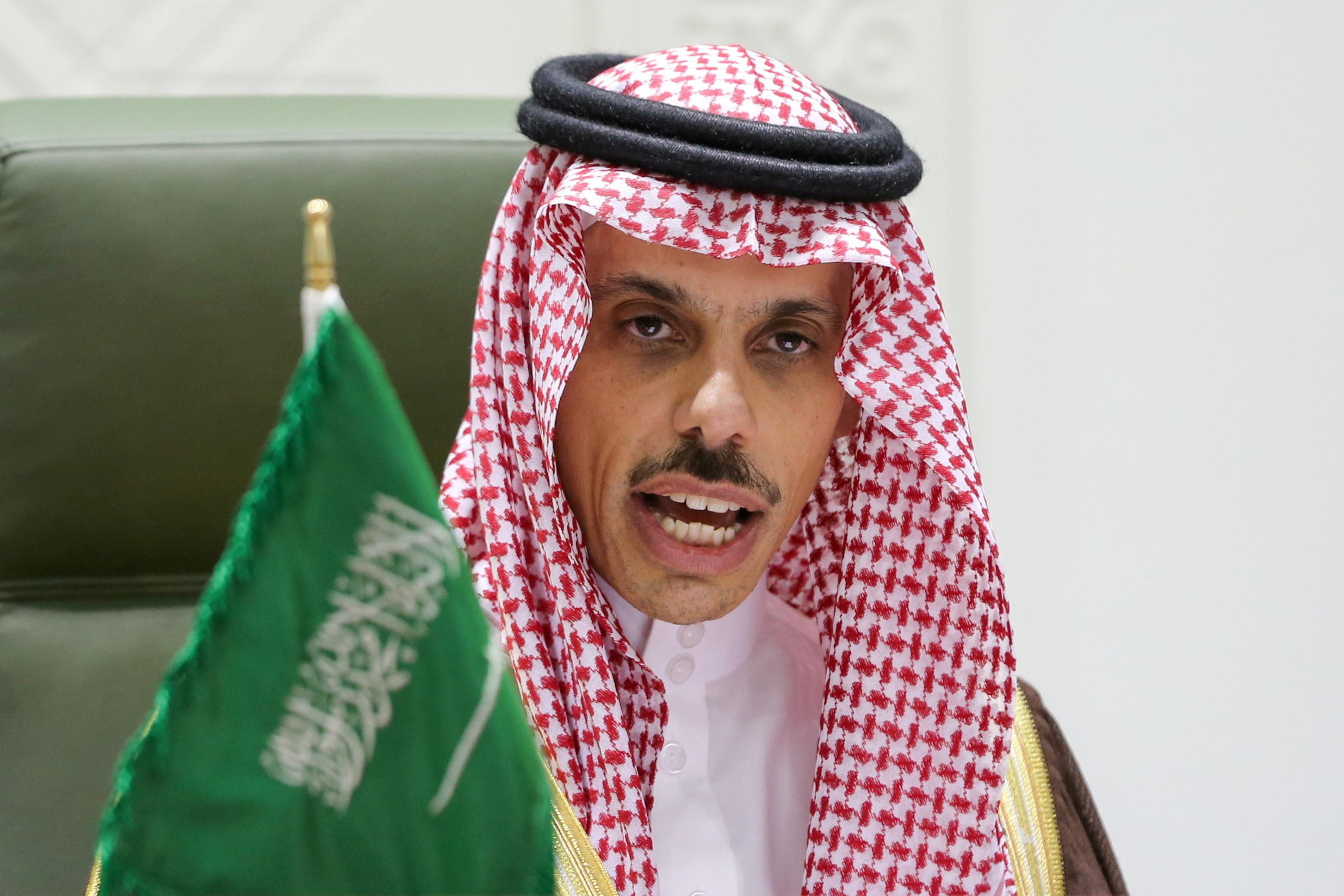 Saudi Arabia's Foreign Minister Prince Faisal bin Farhan Al Saud speaks during a news conference in Riyadh, Saudi Arabia March 22, 2021. REUTERS/Ahmed Yosri/File Photo
