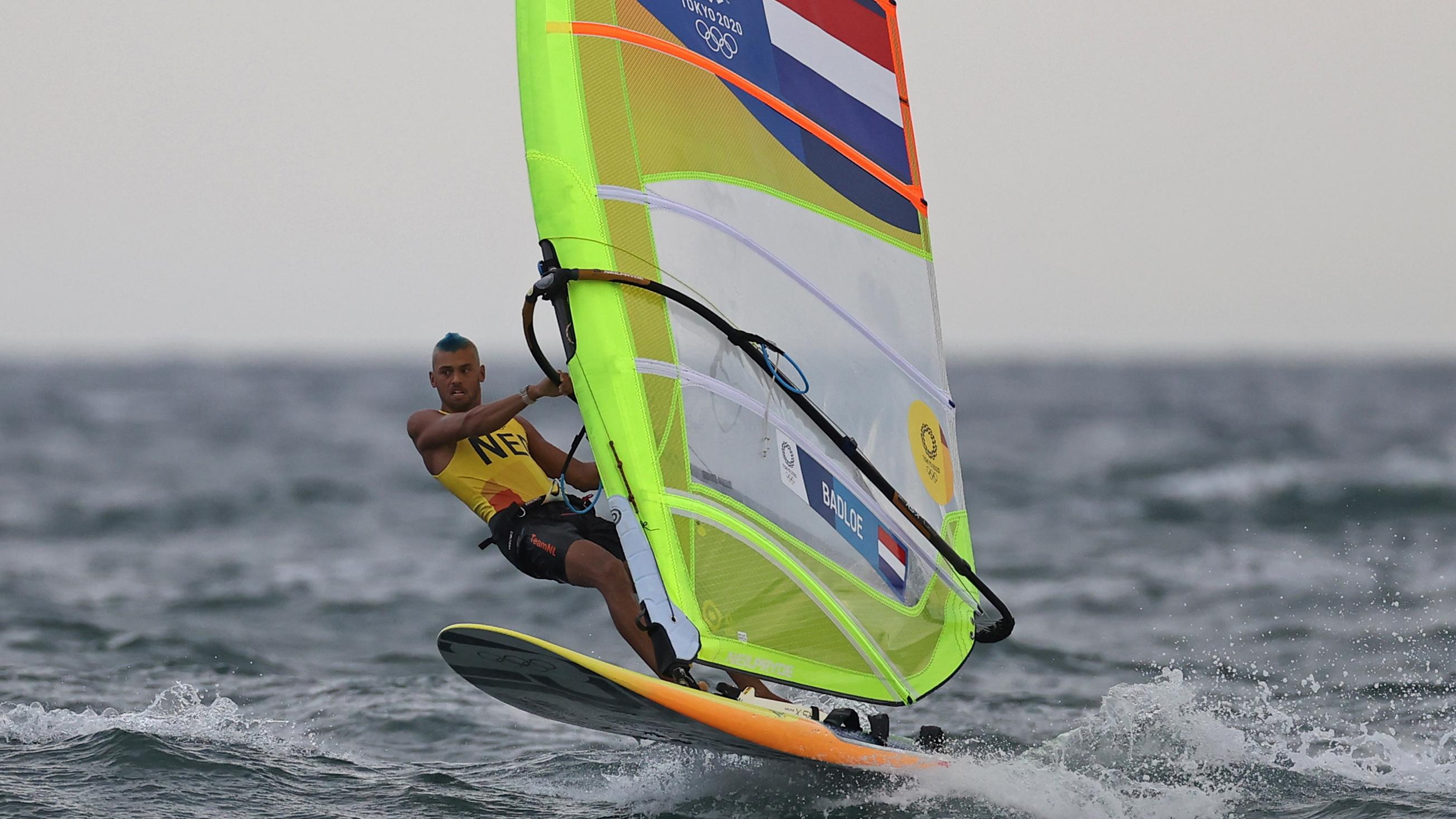 Tokyo 2020 Olympics - Sailing - Men's RS:X - Opening Series - Enoshima Yacht Harbour - Tokyo, Japan - July 29, 2021. Kiran Badloe of the Netherlands in action. REUTERS/Ivan Alvarado