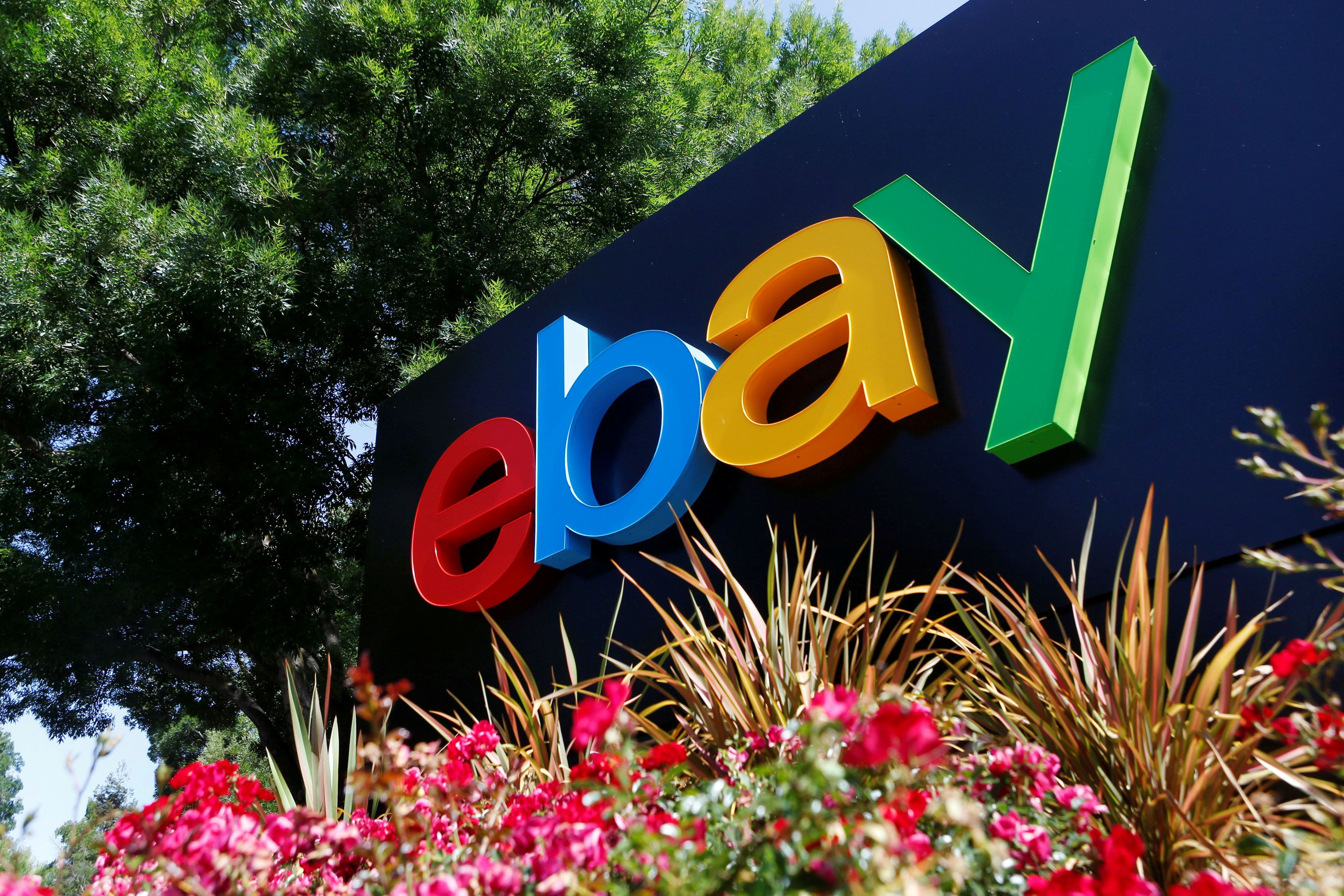 An eBay sign at an office building in San Jose, California, May 28, 2014. REUTERS/Beck Diefenbach