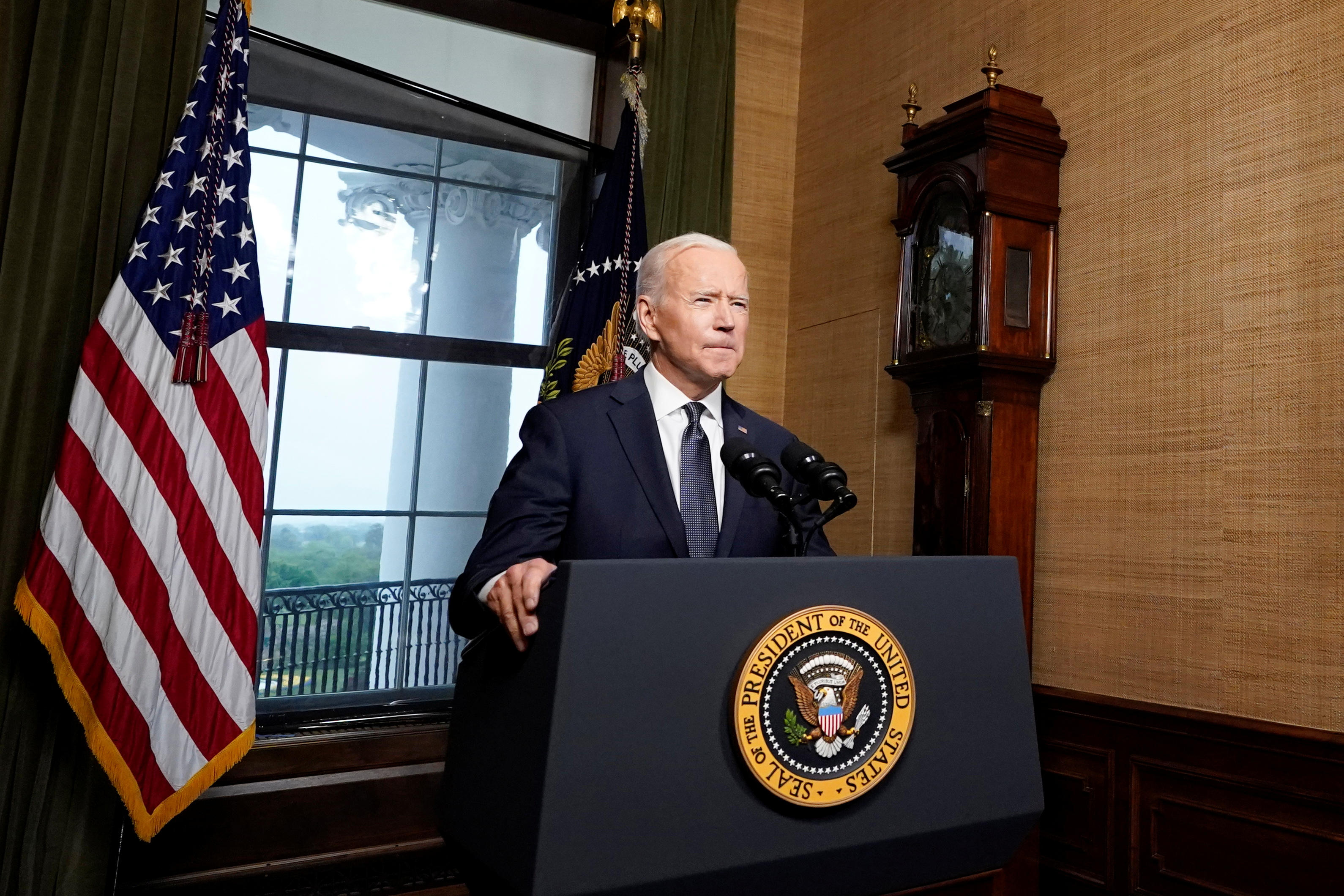 U.S. President Joe Biden delivers remarks on his plan to withdraw American troops from Afghanistan, at the White House, Washington, U.S., April 14, 2021. Andrew Harnik/Pool via REUTERS