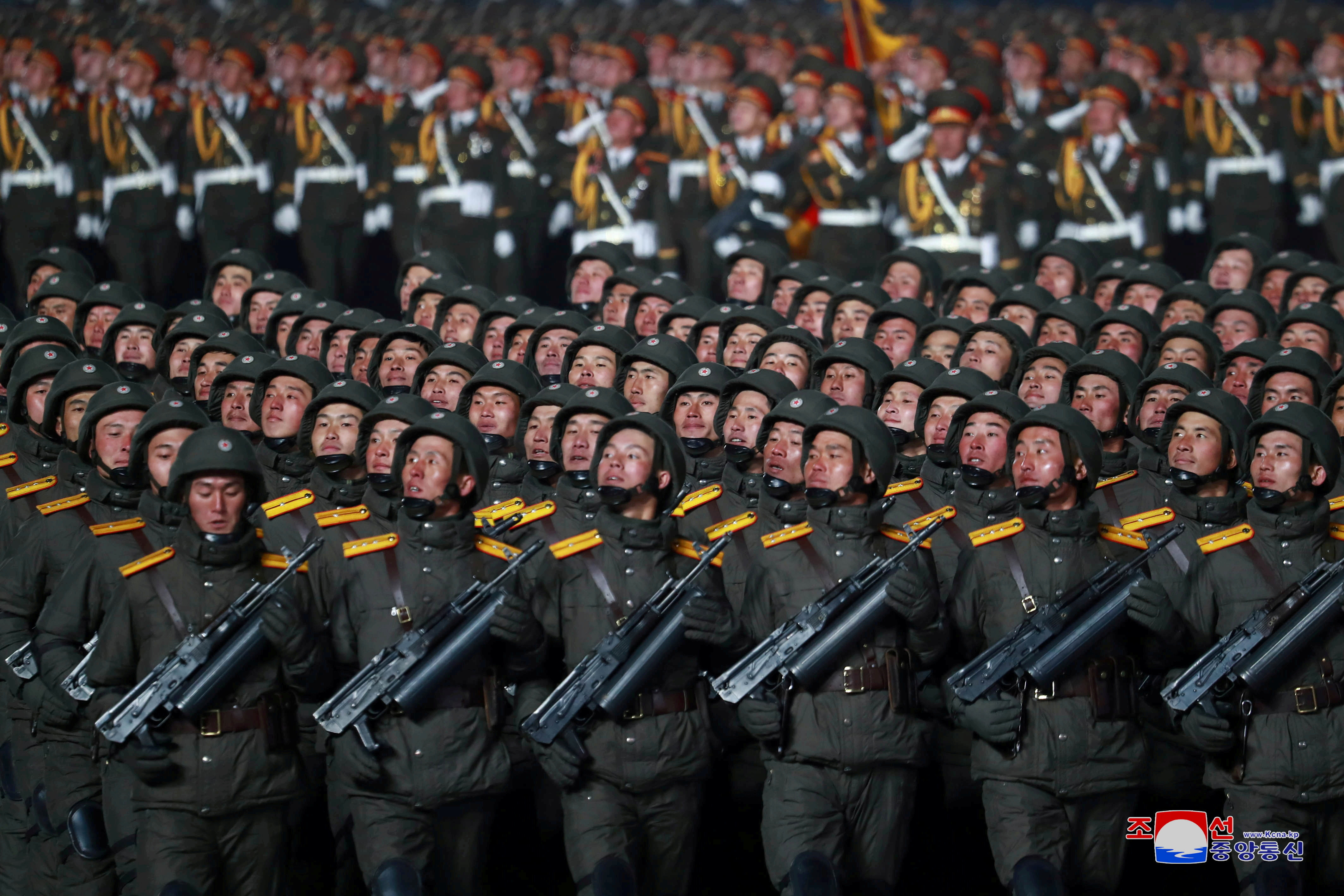 Troops march during a military parade to commemorate the 8th Congress of the Workers' Party in Pyongyang, North Korea January 14, 2021 in this photo supplied by North Korea's Central News Agency (KCNA).    KCNA via REUTERS