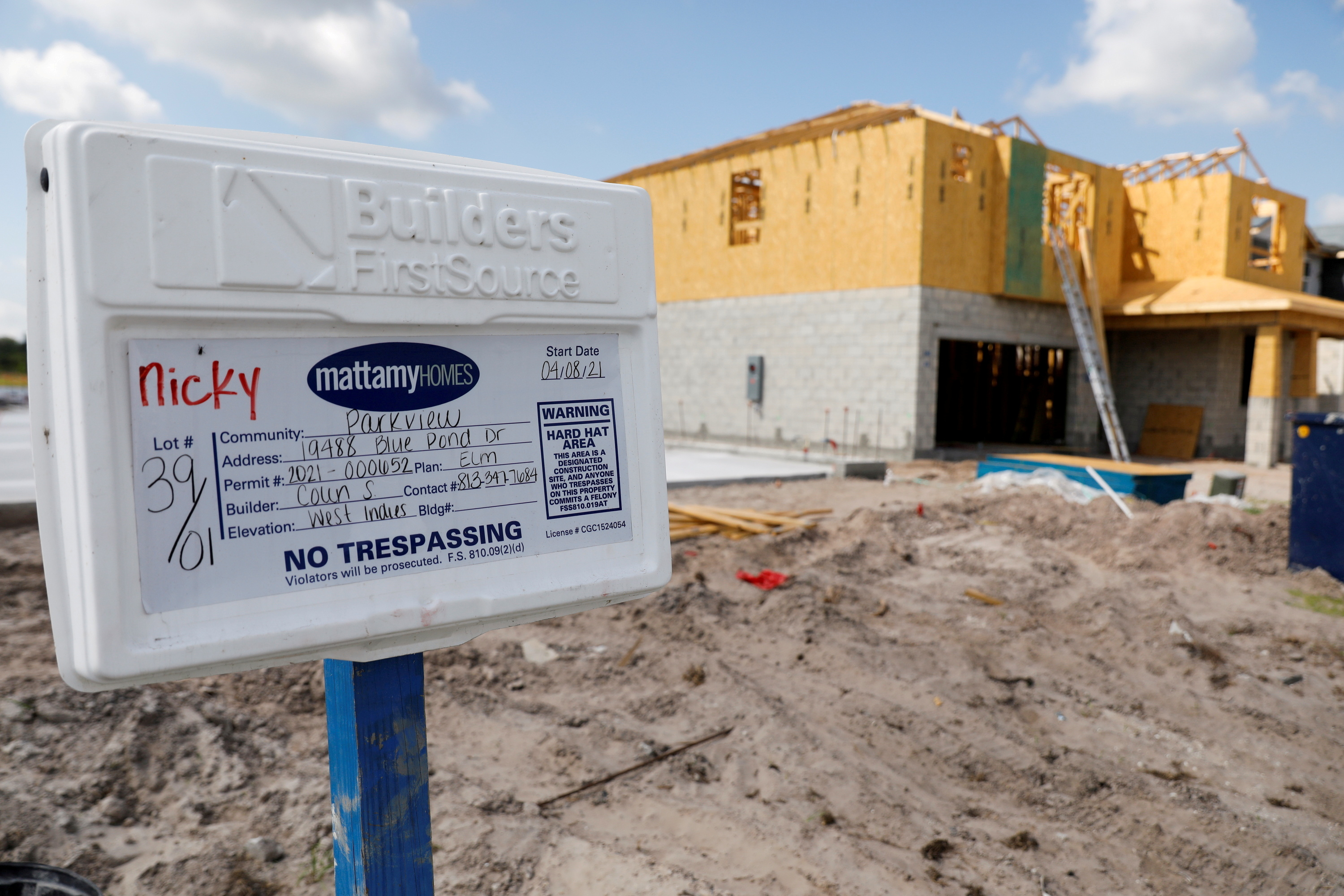 A new single family home is seen under construction while building material supplies are in high demand in Tampa, Florida, U.S., May 5, 2021. REUTERS/Octavio Jones/File Photo